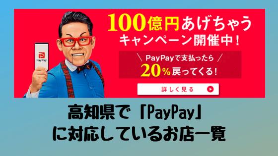 【2019.10月~キャッシュレス還元事業開始】高知県で「PayPay」に対応しているお店一覧