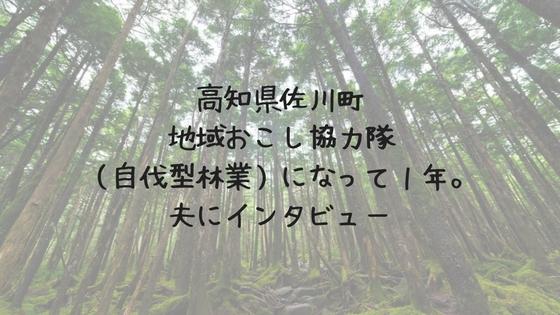 高知県佐川町地域おこし協力隊(自伐型林業)になって1年。夫にインタビュー